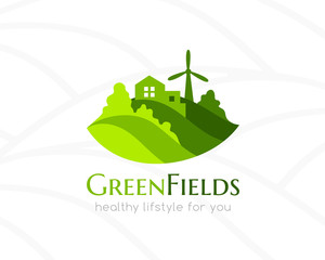 Farm green landscape and house logo.