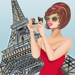 Pin-up sexy woman takes pictures on camera near Eiffel Tower in Paris. Pop Art vector