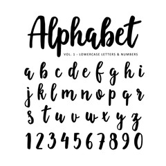 Hand drawn vector alphabet, font. Isolated letters and numbers written with marker or ink, brush script.