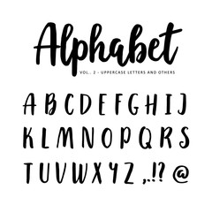 Hand drawn vector alphabet, font. Isolated letters written with marker or ink, brush script.