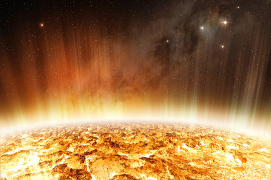 solar radiation from glowing surface of the sun