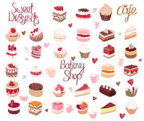 Set with different kinds of dessert. cake, muffin, macaroon, pie. For your design, announcements, postcards, posters, restaurant menu.