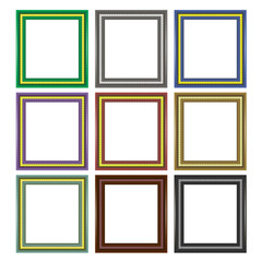 Set of Colorful Wooden Frames Isolated on White Background