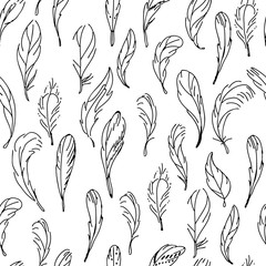 Seamless pattern with feathers. Black and white.  Endless texture for your design, announcements, postcards, posters.