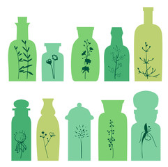 Set with small vintage bottles. Silhouette of plants.