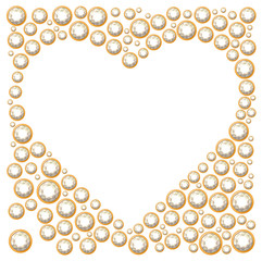 Blank heart frame made of diamonds. For wedding and romantic design, advertisement, greeting cards, posters