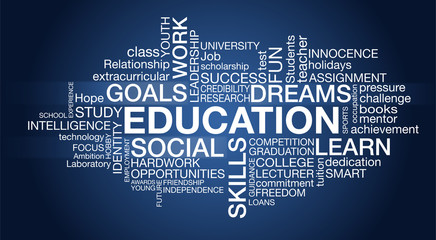 Education - Word Cloud - blue