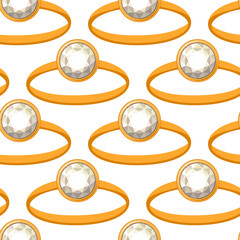 Seamless pattern with gold rings and diamonds. Endless texture for your design.
