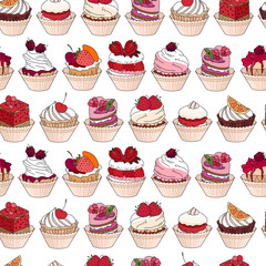 Seamless pattern with different kinds of dessert. Endless texture for your design, announcements, postcards, posters, restaurant menu.