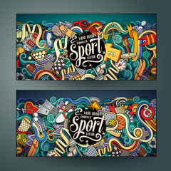 Cartoon vector hand drawn doodles Sport banners
