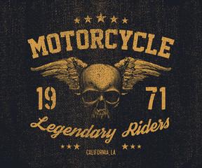 vector emblem retro motorcyclist old skull