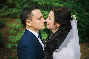 Wedding photo shoot. Beautiful groom and bride in nature.