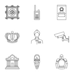 Museum set icons in outline style. Big collection of museum vector symbol stock illustration