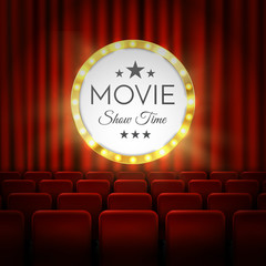Movie cinema premiere poster design. Vector banner