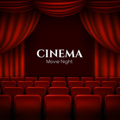 Movie cinema premiere poster design with red curtains. Vector banner.