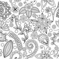 Seamless pattern with flowers and branches. Endless floral patte