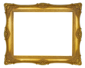 Golden vintage picture frame isolated on white background