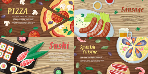 National Dishes and Drinks Web Banners. Vector