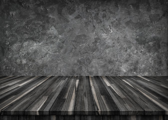 Empty light wood table top isolate on gray cement with clipping