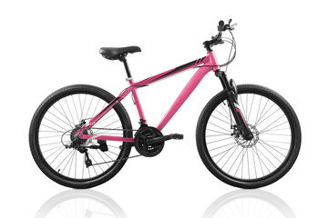 Pink bicycle isolated on white background with clipping path