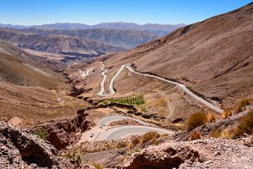 Curves of ruta 52 from Purmamarca to Salinas Grandes