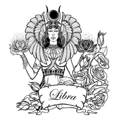 Zodiac sign Libra. Egyptian goddess Isis balancing in hands black and white lotus as a symbol of equilibrium. Vintage art nouveau style concept art for horoscope or tattoo. EPS10 vector