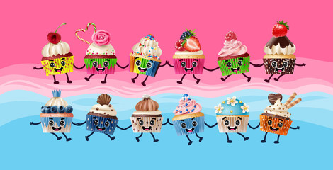Design a poster with cartoon characters cupcakes