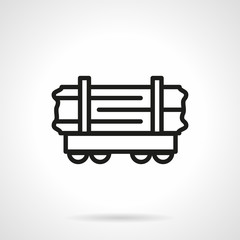 Wood rail-car simple line vector icon