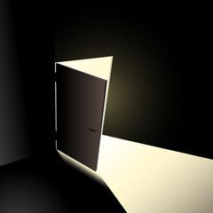 Offene Tür mit Licht