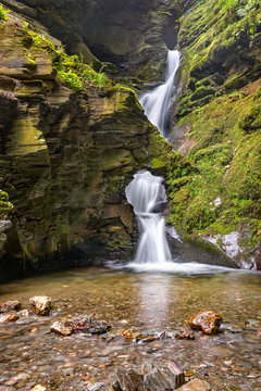 St Nectans Kieve waterfall in St Nectan's Glen valley in North Cornwall