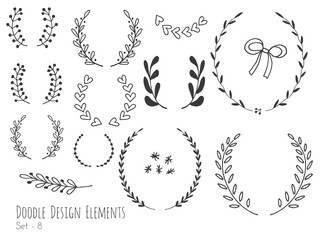 Collection of hand drawn doodle design elements isolated on white background. Set of handdrawn borders, laurel wreaths, floral dividers, ribbon. Abstract hand sketched shapes. Vector illustration.