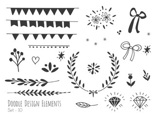 Collection of hand drawn doodle design elements isolated on white background. Set, handdrawn bunting flags, borders, laurel wreath, diamond, floral dividers, ribbon, heart. Vector sketch illustration.