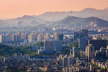 Seoul City in Sunset, South Korea