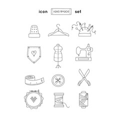 Hand made line icon set. Hobby emblems collection.