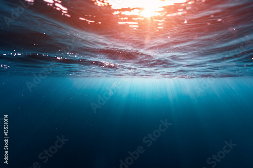 Wall mural Underwater shot of the sea surface with sunny beams and waves