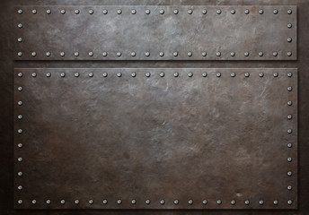 two stained steel plates with rivets over metal background