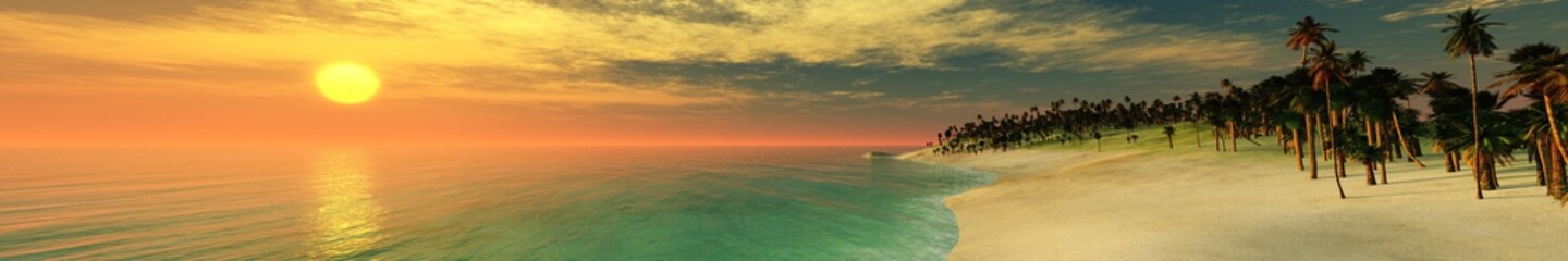 Panorama of the sea sunset over the island, the light above the water, ocean sunset over the tropics
