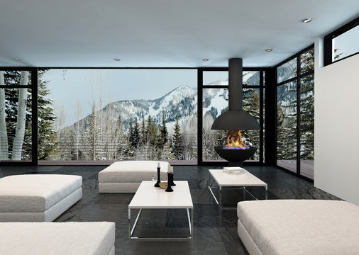 Cozy stylish living room interior in the mountains