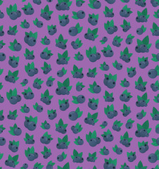 Vector cartoon seamless pattern with blueberry for gift wrapping paper, covering and branding on the purple background.