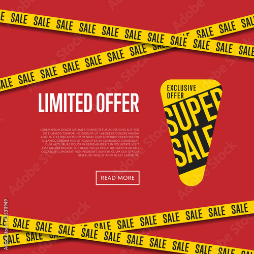 """Limited offer website template vector illustration ..."