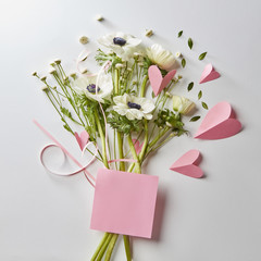 Bouquet of flowers and hearts