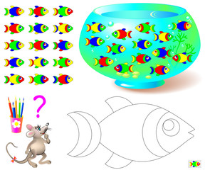 Coloring page with logic puzzle for children. Need to find the only one fish missing in aquarium and paint black and white drawing in corresponding colors. Vector cartoon image.