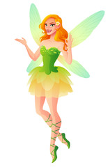Vector presenting fairy with wings in green dress shows OK.