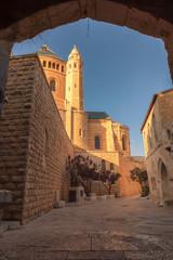 Street near Church of Dormition in Jerusalem Old City. Israel.