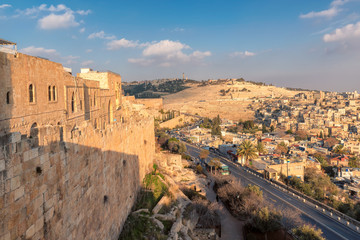 The Jerusalem Old city wall and view of the Mount of Olives in Jerusalem, Israel