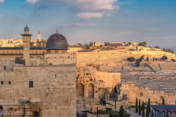 Jerusalem Old City at sunset, Al-Aqsa Mosque, Israel.