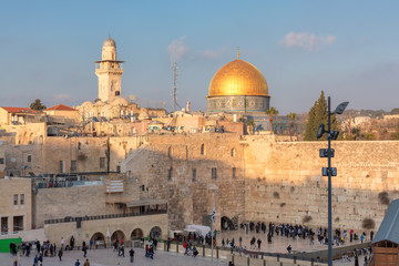 A view of Western Wall and golden Dome of the Rock,