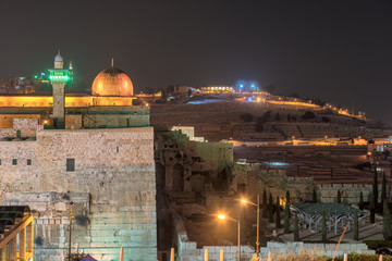Jerusalem Old City at night, Al-Aqsa Mosque, Israel.