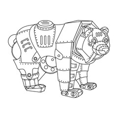 Steampunk style bear coloring book vector