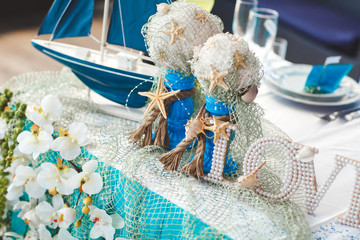 decor. starfish. ship. letters. wedding. Banquet. table.